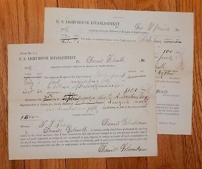 1872 Horton Point Lighthouse Keepers Pay Vouchers Daniel Goldsmith & Geo Prince