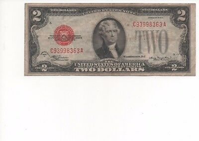 1928 Series $2 Two Dollar Red Seal Note Bill US Currency G -VG