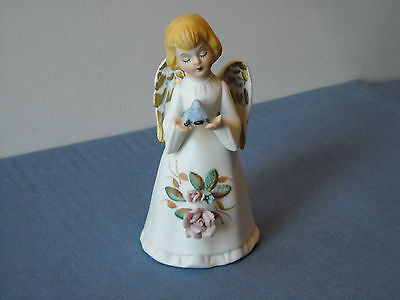 "Angel Bell with Blue Bird HOMCO Original Sticker Intact 4 1/2"" Tall"