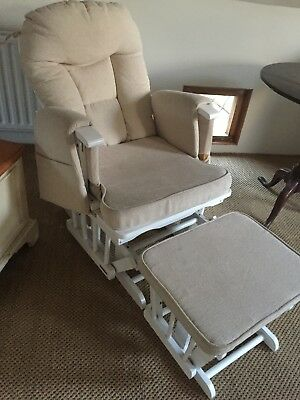 white and natural rocking nursing chair and footstool