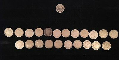 Lot of 23 US Nickels - 22 Liberty 'V' Nickels and 1 (1867) Shield Nickel
