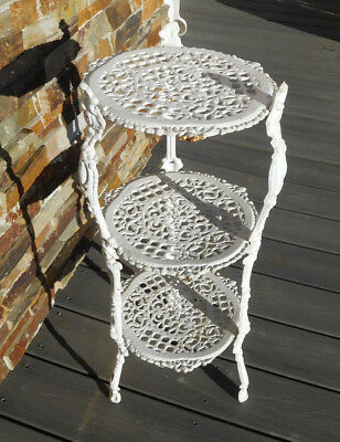 Vintage SHABBY COTTAGE 3 Tier Cast Iron Table Plant Stand ~FREE SSHIPPING~