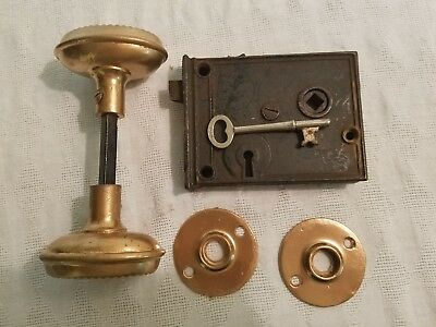 Vintage Victorian Style Door Knobs with Lock Assy,Plates and Key