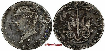 "Haiti Silver AN 14 (1817) 25 Centimes Variety: ""P"" below the Bust VERY RARE C-26"