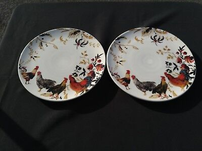 """Set of 2 Williams Sonoma Marc Lacaze ROOSTER FRANCAIS Dinner Plate 12"""""""