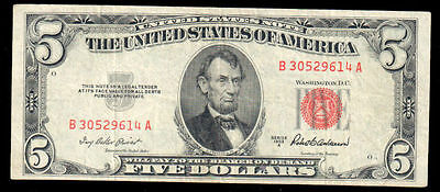 1953-A Series $5 United States Note Fr. 1533 VF B 30529614 A