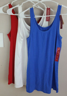 NWT Merona Lot of 3 Womens Tank Tops Red-White-Blue size XL