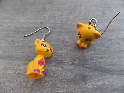 """Lego Earrings """"CAT, Bright Orange"""" Surgical, Animal, Minifig, Elves, Friends"""