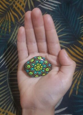Solar plexis clearing meditation stone hand painted mandala rock