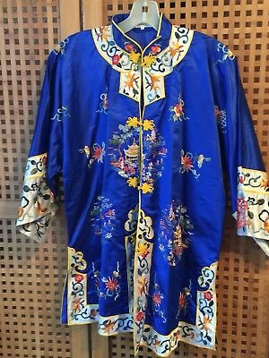 VINTAGE CHINESE EMBROIDERED SILK JACKET/TUNIC w PAGODAS