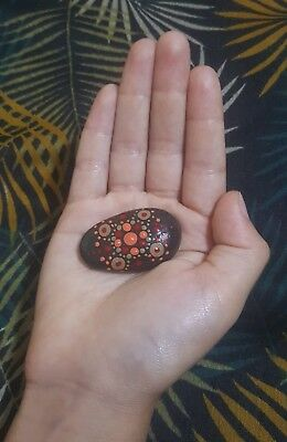 Sacral chakra clearing meditation stone hand painted mandala rock