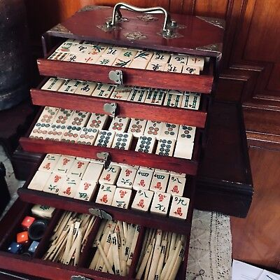 NR  ANTIQUE 1920s  MAHJONG  Game Set Wood Case Tiles made of Bone Bamboo Chinese