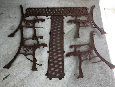 Cast Iron Metal Bench Seat Ends And Back Rests 2 Sets