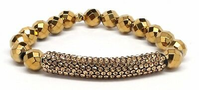 Druzy Beaded Stretch Bracelet with Gold Rhinestone Bar and Gold Beads ~ 3024
