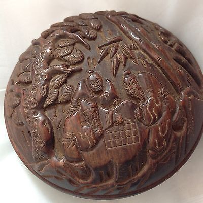 Chinese Oriental Censer pot lidded hand carved wooden Qing Guangxu