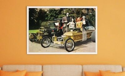 "Large Size 24""x32"" Popular 1960's TV Show Cast - Munster Coach and Dragula"