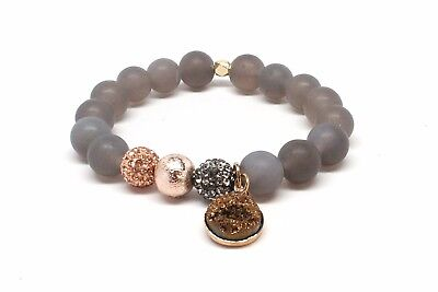 Druzy Beaded Agated Bracelet With Gold Dangle Stone & Natural Matte Grey Beads