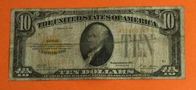 """1928 $10 US """"GOLD Certificate"""" X347 VG! Old US Paper Currency High in Demand!"""