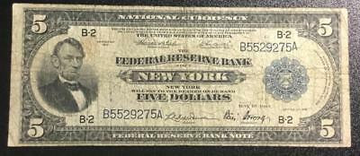 """1918 $5 US """"Abe Lincoln"""" National Currency! Hard to Find! """"LARGE SIZE VG/FINE!"""