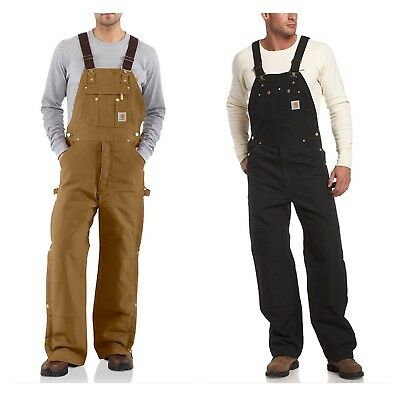 Men's Carhartt Quilt-Lined Zip-to-Thigh Bib Overalls, R41 Brown OR Black