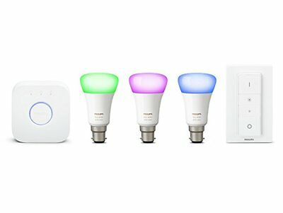 Philips Hue White Colour Ambience Richer Colours B22 BC Starter Kit with Dimmer