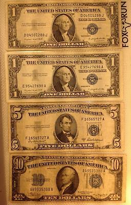 Better Grade Circulated US Currency: 4 Diff. Silver Certificates Two $1, $5, $10