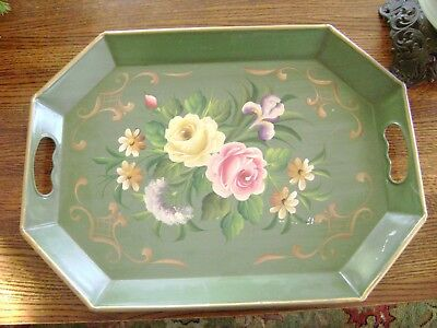Vintage Green Hand Painted Floral Handled Serving Tray Tole Ware Metal Lg