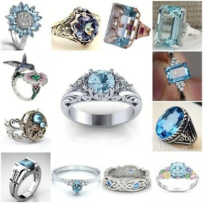 925 Silver Ring Vintage Aquamarine Women Jewelry Wedding Engagement Size 5-11