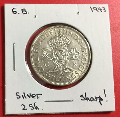 1943 Gorgeous Uncirculated British SILVER 2 Shillings! Old British Coins!