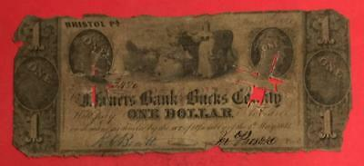 "1841 $1 US ""BRISTOL Pennsylvania ""LARGE SIZE"" Currency! Rough! Obsolete!"