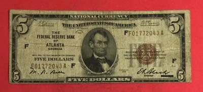 1929 $5 US Brown National Currency! Atlanta! X043 VG! Old US Paper Currency