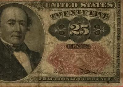 """1874 US Fractional Currency """"TWENTY FIVE CENTS"""" VG! Old US Currency"""