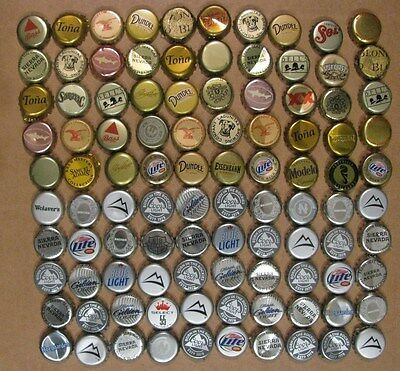 100 MIXED GOLD - n - SILVER  50 GOLD 50 SILVER USED BEER BOTTLE CAPS