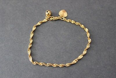 Girls 18K Gp Twisted Double Chain Bell & Heart 16 Cm Bracelet Free Post In Oz