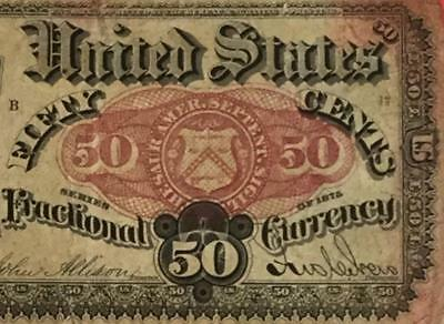"""1875 US Fractional Currency """"FIFTY CENTS"""" Old US Paper Money Currency Rough"""