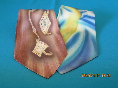 Vintage Lot of 2 Mens Handpainted Silk Neckties Multi-Color Short