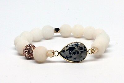 Speckled Black and Gray Cabochon Druzy Bracelet with Matte White Beads