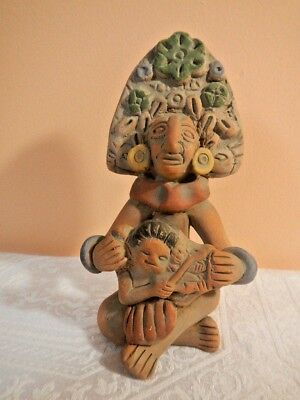 Vintage Mexican Art Pottery Aztec or Mayan Woman with Child Clay Figurine Statue