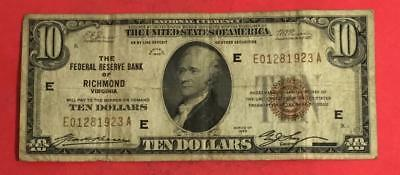 """1929 $10 Brown Seal National Currency """"RICHMOND"""" VG! Serial 01/28/1923! Currency"""