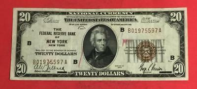 """1929 $20 Brown National Currency """"New YOrk"""" X597 Old US Paper Money Currency"""