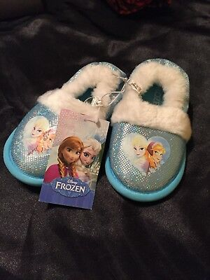 Disney Child's Frozen Fuzzy And Sparkles Slippers Faux Fur size 7-8 NWT