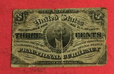 """1863 US George Washington """"THREE CENTS"""" Fractional Currency!"""