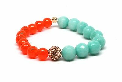 Druzy Agate Bracelet w/ Sea Green / Coral Beads With Rose Gold Accent Bead