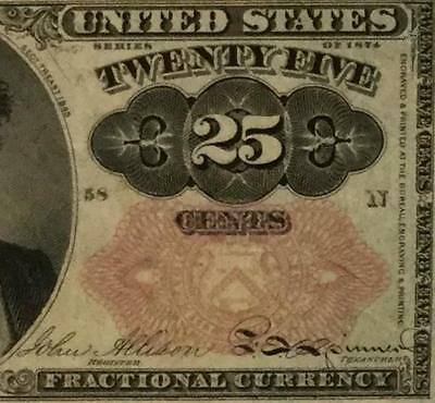 """1874 US Fractional Currency """"TWENTY FIVE CENTS"""" Choice Uncirculated! Currency"""
