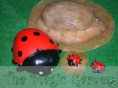 2 cute ladybug insects plaster cement craft latex moulds molds