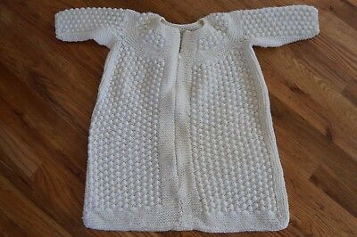 Vintage Handknit White/Cream Baby Bunting with Bonnet