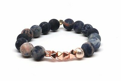 Druzy Agate Beaded Bracelet With Matrix Of Blues and Stone With Rose Gold Accent