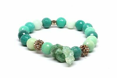 Druzy Agate Stone Beaded Bracelet With Sea Green Variation Beads