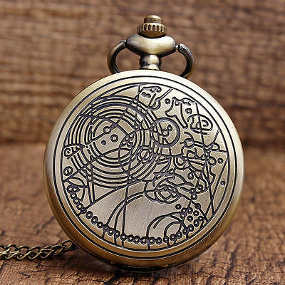 Bronze Doctor Who Style Fashion Quartz Pocket Watch With Pendant Chain Best Gift