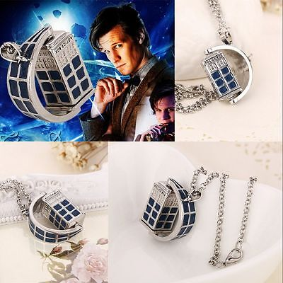 Doctor Who Telephone Booth Blue Police Box Chain Pendant Necklace Cosplay Gift